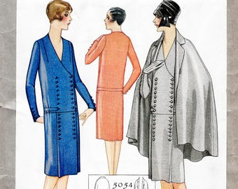 1920s 20s coat & dress ensemble // vintage sewing pattern reproduction // notched collar // drop waist dress // bust 32 34 36 38 40