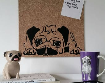 Pug pinboard, hand painted cork board, memo board, bulletin board for kitchen, dining, study or bedroom