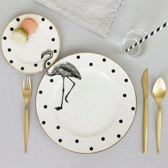 sc 1 st  Etsy & Monochrome Fancy Flamingo plate set