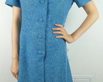 VINTAGE BLUE DRESS 1960s Wool Short Sleeves Size Medium