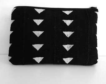 Oversized Black and White Mudcloth Clutch Purse, Mud Cloth Fabric
