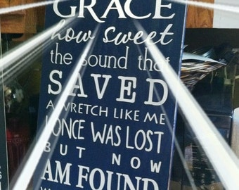 AMAZING GRACE SIGN.. Painted Wood Typography Sign