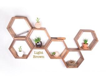 6 Honeycomb shelves, Hexagon Shelves, Geodesic Shelves, Geometric Shelves, Nursery Shelves, Hexagon shelf, Floating Shelf, Floating Shelves