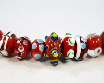Red Bumpy Lampwork Rondelle Beads  12 Beads  (7 x 14 mm)