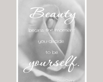 Beauty begins Chanel quote, positive affirmation picture, Chanel wall art, teen girls room wall art, inspirational gift for women, dorm art