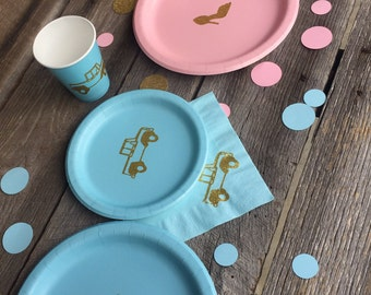 Heels or Wheels Gender Reveal Party Cups, Plates, and Napkins, Boy or Girl Party, Its a Boy, Its a Girl