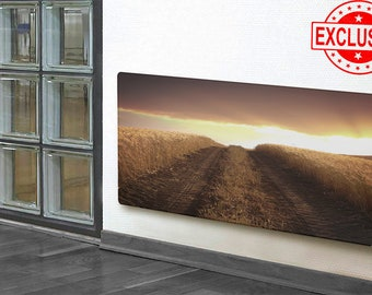 0011 HEATING GLASS PANEL, dirt road wall art,  tire tracks on a dirt road print, tire tracks wall decor, Heater