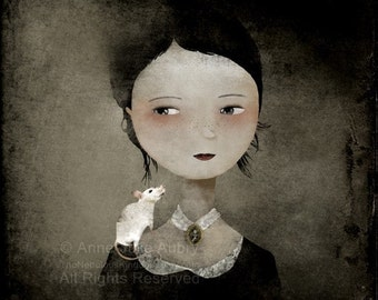 Portrait at the white rat - open edition print - Whimsical Art