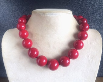 Large Graduated Genuine Red Coral 18 – 24MM Round Bead Necklace 19""