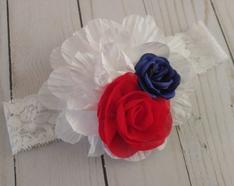 Patriotic Headband | Red White And Blue Headband | Patriotic Floral Headband | Lace headband | Memorial Day | Fourth of July |