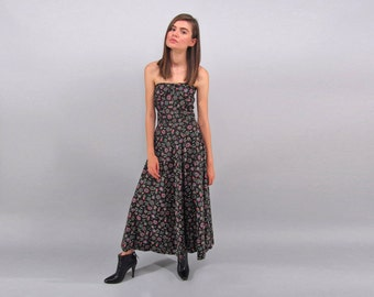 50s Strapless Dress / Vintage 50s Maxi Dress / Party Dress / Full Skirt Dress / 50s Floral Dress Δ size: sm