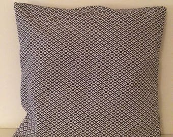 Black and white geometric fabric pillow cover