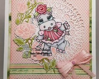 1593 Dancing Rose Hippo Digi Stamp