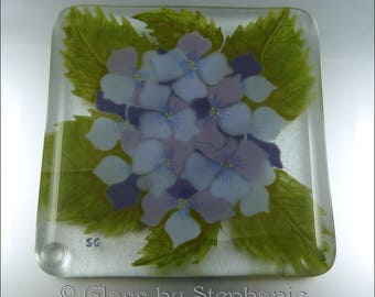 HYDRANGEA COASTER - PURPLES – Handpainted and Fused Glass Coaster - by Stephanie Gough sra fhfteam leteam