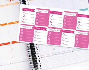Planner Stickers Erin Condren Life Planner (ECLP) - 10 Full Box Pink To Do List Stickers (#4003)