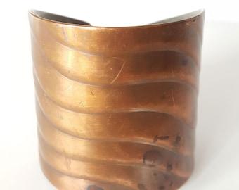 Mid Century Copper Cuff Bracelet, Signed Pedro Pujol, Handmade Copper Jewelry, Modernist Copper Jewelry, Minimalist Jewelry, Circa 1940, 51g