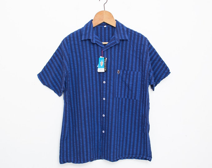 NOS vintage 80s shirt blouse blue stripped