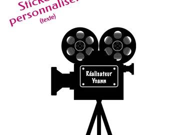 "Customizable wall decal ""Camera film"" - themed movies - customizable text (name) (custom sticker)"