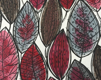 Tablecloth with red green gray leaves, modern tablecloth, floral tablecloth