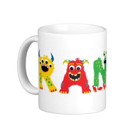 Coffee Mug Personalized Name Mug for Kids - Cute Monster Letters Customize with any Name you choose
