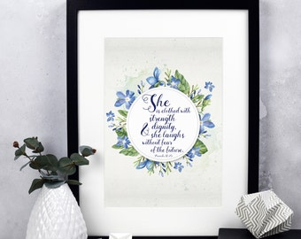 She Is Clothed With Strength & Dignity Print 1 - Proverbs 31:25 - Christian Gifts - Christian Print - Bible Verse Print - Calligraphy Print