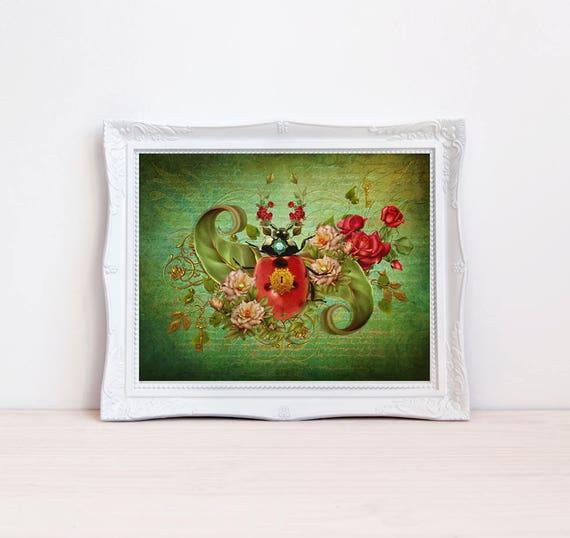 vintage style whimsical fantasy ladybug art print