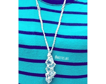 Macramé Crystal Necklace - Hemp Wrapped Quartz Crystal- Quartz necklace - Hemp wrapped necklace
