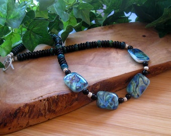 """Abalone and Glass Beaded Necklace, Shell Rectangle Focals, Glass Rondelles, Beachy Theme, Artisan Necklace, Boho Necklace, 18"""""""