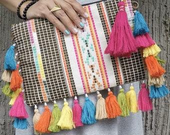 Boho clutch, bohemian clutch, handmade clutch, gypsy bag, ethnic clutch