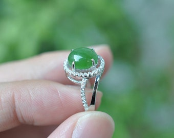 Natural jade ring elegant green nephrite Hotan jade ring,Unique Engagement Ring,Wedding ring, S925 sterling silver inlaid Rhinestone ring