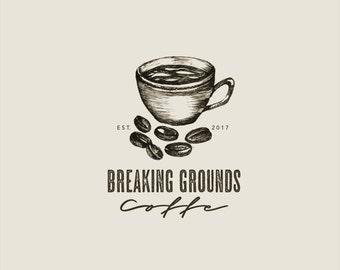 Hand-drawn Premade Vintage Coffee Cup Logo// Food blog logo design// Coffee beans Logo// Coffee bar// Coffee Shop