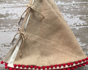 Burlap Christmas Tree Skirt with Red Pom Pom Fringe 56 inch diameter