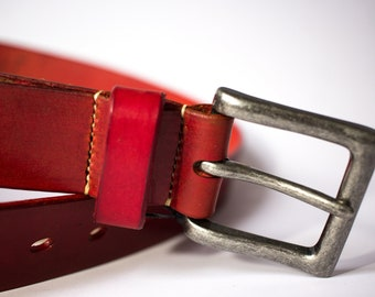 """36"""" Red Belt with Antique Nickel Buckle, Handmade, Top Quality Leather"""