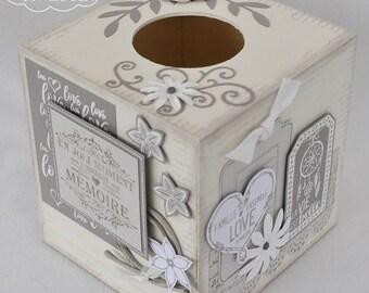 Boite à mouchoir carrée blanc et taupe, thème du bonheur
