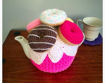 Doughnut Tea Cosy - Donut Tea Cosy - 4 Cup Teapot - Tea Lover Gift - Kitchen Gift - Hostess Gift- Mothers Day Gift