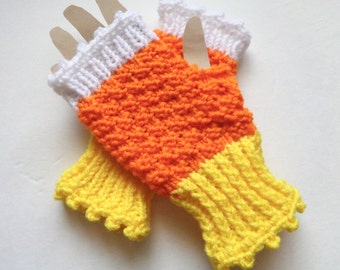 Candy Corn Gloves, Knit Fingerless Gloves, Wrist Warmers, Texting Mitts, Novelty Hand Warmers, Orange and Yellow Gloves, Hand Made Gift