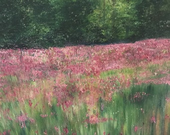 Original oil painting of Pretty Pink Flowers in a Field in Early Summer