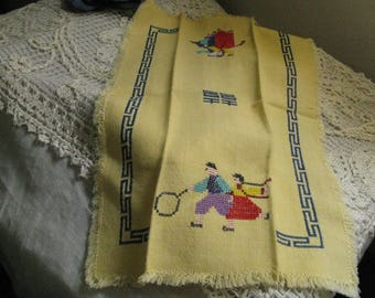 Sunny Yellow Asian Cross Stitch Embroidered Fingertip Towel ~~ Vintage  Asian Guest Towel