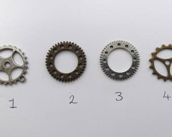 Cog charms - Steampunk Bronze or Silver.