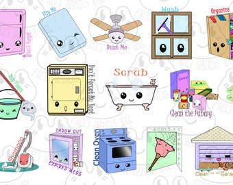 Kawaii Spring Cleaning Planner Stickers