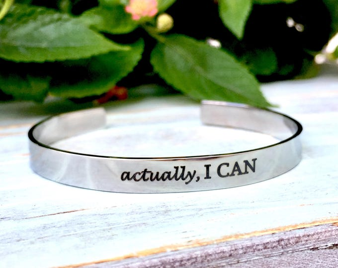 Actually, I can engraved stainless steel cuff bracelet, gift for graduate, cancer, inspirational bracelet, personalized gifts