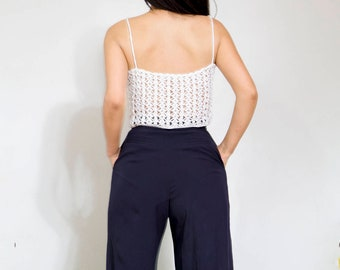 OFF SALE Crochet top white women clothing/ Top & Tees/ Crop top crochet cotton/ by Sonqo