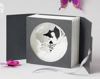 "Greeting Card ""Moon"", Tunnel Pop-up Card Papercut 3D"