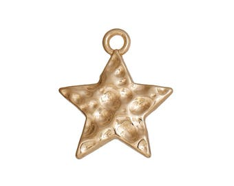 4 18x15mm BD1 31 gold metal hammered star charm