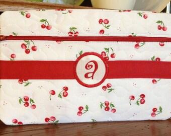 Custom Monogramed Cherry Clutch/Wristlet Bag