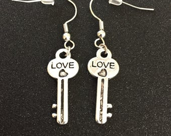 Silver Key Earrings Love Key to My Heart Love Earrings Silver Key Jewelry Key Charm Steampunk Key Jewelry Valentines Day