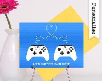 Gamer Anniversary Card, Gamer Love Card, Anniversary Card Boyfriend, Rude Anniversary Card, Geek Anniversary, Video Game Card, Gaming Card