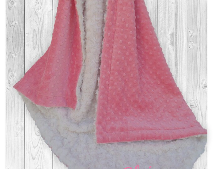 Coral and Cream minky Dot Baby Blanket, Salmon and Ivory minky Dot baby Blanket,
