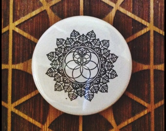 Geometric Magnet and/or Pinback Button Seed of Life Kepler's Solids Lotus Tetrahedron Sacred Geometry