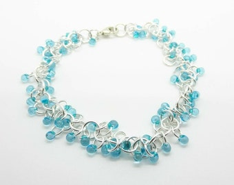 Sterling Silver Miyuki Drop Bead Chain Shaggy Loops Bracelet - Prima Donna Beads